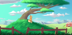 Size: 4100x2000 | Tagged: safe, artist:silverhopexiii, applejack, big macintosh, earth pony, pony, barn, cloud, female, hatless, high res, male, mare, missing accessory, mountain, profile, scenery, sitting, sky, stallion, sweet apple acres, tree, under the tree