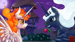Size: 1600x900 | Tagged: safe, artist:eztp, oc, oc:orbash, oc:tau sunflare, alicorn, fanfic:the lost element, bedroom eyes, canterlot, ethereal mane, fanfic art, father, female, fiery mane, flirting, flower, garden, handsome, king, male, mare, married couple, married couples doing married things, moon, mother, night, queen, rose, shrunken pupils, spread wings, stallion, watermark, wingboner, wings