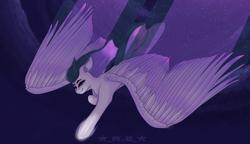 Size: 2600x1500 | Tagged: safe, artist:rise_of_evil_69, oc, oc:space strike, pegasus, pony, blue mane, ear fluff, ears, ears up, eye, eyebrows, eyes, female, mare, night, overcast, purple body, purple eyes, purple mane, sequins, smiling, smirk, solo, stars, wings