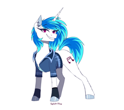 Size: 1800x1600 | Tagged: safe, artist:spirit-fire360, dj pon-3, vinyl scratch, pony, unicorn, clothes, colored pupils, ear piercing, female, looking at you, mare, piercing, shirt, simple background, smiling, solo, white background