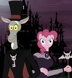 Size: 1892x2040 | Tagged: safe, discord, pinkie pie, anthro, plantigrade anthro, vampire, andrea libman, cape, castle, clothes, crossover, daria cohen, discopie, dress, female, fishnets, hat, john de lancie, looking at you, male, missi and the duke, shipping, straight, the night, top hat