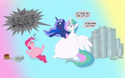 Size: 6400x4000 | Tagged: safe, artist:banebuster, pinkie pie, princess celestia, princess luna, alicorn, earth pony, belly, belly button, big belly, cake, cakelestia, challenge, chubbie pie, chubbylestia, eating contest, fat, food, impossibly large belly, obese, pie, piggy pie, pudgy pie, royal sisters, stuffed