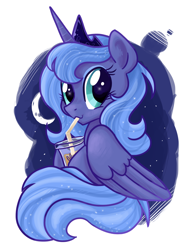 Size: 1008x1296 | Tagged: safe, alternate version, artist:zoidledoidle, princess luna, alicorn, pony, coffee, crescent moon, crown, cute, drink, drinking, female, filly, iced coffee, jewelry, lunabetes, mare, moon, night, regalia, s1 luna, sky, solo, stars, straw, woona, younger
