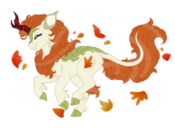 Size: 1024x768 | Tagged: safe, artist:azure-art-wave, autumn blaze, kirin, eyes closed, female, grin, leaves, running, simple background, smiling, solo, transparent background