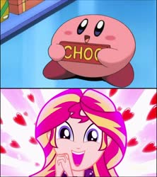 Size: 720x811 | Tagged: safe, edit, edited screencap, screencap, sunset shimmer, eqg summertime shorts, equestria girls, pet project, candy, chocolate bar, cute, food, hnnng, kirby, kirby (character), kirby of the stars, kirby right back at ya, meme, nintendo, reaction image, shimmering the gecko