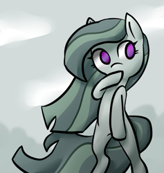 Size: 1840x1944 | Tagged: safe, artist:saltycube, marble pie, earth pony, pony, cloud, cloudy, cute, female, flowing mane, forest, shy, solo, wind