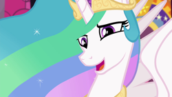 Size: 1920x1080 | Tagged: safe, screencap, princess celestia, alicorn, pony, equestria girls, equestria girls series, forgotten friendship, beautiful, benevolent, crown, cute, cutelestia, ethereal mane, female, flowing mane, forgiveness, jewelry, looking at someone, looking down, mare, multicolored mane, open mouth, purple eyes, regalia, smiling, spread wings, talking, wings