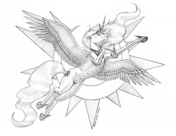 Size: 1400x1087   Tagged: safe, artist:baron engel, princess celestia, alicorn, pony, eyes closed, female, flying, grayscale, mare, monochrome, pencil drawing, simple background, solo, traditional art
