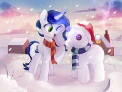 Size: 2000x1500 | Tagged: safe, artist:raily, oc, oc:muffinkarton, pony, unicorn, button eyes, clothes, house, levitation, magic, scarf, snow, snowpony, solo, telekinesis, winter