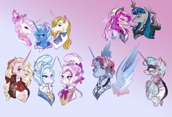 Size: 2597x1778 | Tagged: safe, artist:bunnari, fleur-de-lis, prince blueblood, princess cadance, stygian, trixie, oc, alicorn, alicorn oc, bluetrix, bust, family, female, fleur-de-blueblood, fleur-de-bluetrix, half-siblings, male, offspring, parent:fleur-de-lis, parent:prince blueblood, parent:princess cadance, parent:shining armor, parent:stygian, parent:trixie, parents:bluetrix, parents:fleur-de-blueblood, parents:shiningcadance, polyamory, shipping, straight
