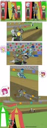 Size: 1280x3459 | Tagged: safe, artist:pheeph, fluttershy, lightning dust, pinkie pie, rainbow dash, rolling thunder, scootaloo, short fuse, equestria girls, armor, comic, how, jousting, jousting outfit, lance, male, old master q, parody, sneaking, stallion, washouts (team), weapon