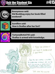 Size: 800x1073   Tagged: safe, artist:sintakhra, ocellus, sandbar, changedling, changeling, pony, tumblr:studentsix, book, cute, diaocelles, eyes closed, happy, looking at you, ocellus sure does love books, post-it, smiling, that changeling sure does love books