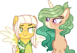 Size: 1189x823 | Tagged: safe, artist:bebraveforme, artist:thecatrei, oc, oc only, oc:honey lavender, oc:sweet banana, pegasus, pony, unicorn, base used, clothes, female, freckles, hawaiian shirt, looking at each other, mare, markings, raised eyebrow, raised hoof, shirt, simple background, transparent background