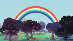 Size: 2000x1125 | Tagged: safe, screencap, family appreciation day, apple, apple orchard, apple tree, basket, electricity, food, no pony, orchard, rainbow, tree, unripe zap apple, zap apple, zap apple tree