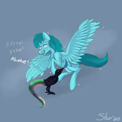 Size: 7743x7728 | Tagged: safe, artist:astarlitstudios, oc, oc:yorick, bird, crow, hybrid, pegasus, pony, snake, birthday, blushing, chest fluff, cute, ear fluff, eyes closed, feather, gift art, giggling, gray background, laughing, leg fluff, male, open mouth, shivering, shoulder fluff, simple background, smiling, spread wings, stallion, tickle torture, tickling, wing fluff, wings