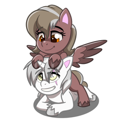 Size: 4093x4093 | Tagged: safe, artist:jcosneverexisted, oc, oc only, oc:copper crescendo, oc:silver sickle, pegasus, pony, unicorn, brother and sister, female, looking at each other, male, mare, scar, siblings, simple background, stallion, transparent background, unshorn fetlocks