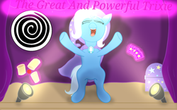 Size: 1280x800 | Tagged: safe, artist:cryptothechangeling1, trixie, cape, chest, clothes, hat, light, trixie's cape, trixie's hat