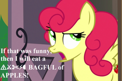 Size: 1080x720 | Tagged: safe, edit, edited screencap, screencap, strawberry sunrise, honest apple, censored vulgarity, cropped, dude not funny (reaction image), grawlixes, reaction image, speech, strawberry savage, that pony sure does hate apples