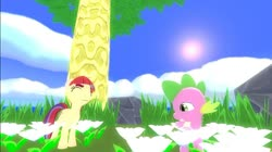 Size: 1024x575 | Tagged: safe, artist:undeadponysoldier, moondancer, spike, dragon, pony, unicorn, 3d, bushy brows, commission, crossover, cute, female, flower, gmod, grass, happy, male, mare, outset island, picking flowers, rock, shipping, spikedancer, straight, sun, the legend of zelda, the legend of zelda: the wind waker, tree