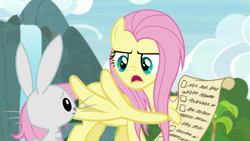 Size: 1920x1080 | Tagged: safe, screencap, angel bunny, fluttershy, pegasus, pony, rabbit, she talks to angel, spoiler:s09e18, animal, checklist, duo, female, list, male, mare, messy mane, scroll, wing hands, wings