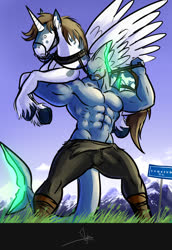 Size: 789x1150 | Tagged: safe, artist:bgn, oc, oc only, oc:todex, oc:vonce, alicorn, anthro, pony, shark, abs, alicorn oc, armpits, clothes, digital art, duo, grass, hoers, holding a pony, horn, kyrgyzstan, lifting, lifting ponies, mountain, muscles, pants, partial nudity, pecs, signboard, sky, tail, topless, wings