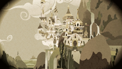 Size: 2000x1125 | Tagged: safe, screencap, happy trails, pokey oaks, sew 'n sow, family appreciation day, apple family member, canterlot, city, flashback, sepia, tower, waterfall