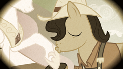Size: 2000x1125 | Tagged: safe, screencap, princess celestia, earth pony, pony, family appreciation day, apple family member, eyes closed, flashback, granny smith's father, hat, hoof kissing, hoof shoes, kissing, male, raised hoof, sepia, solo focus, stallion
