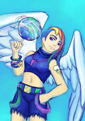 Size: 600x849 | Tagged: safe, artist:a-elly, rainbow dash, human, ball, clothes, cutie mark on human, ear piercing, earring, eyebrow piercing, humanized, jewelry, piercing, ripped pants, solo, whistle, winged humanization, wings