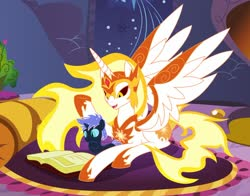Size: 1280x1005 | Tagged: safe, artist:somashield, daybreaker, oc, oc:stardust tutor, alicorn, pony, aunt and nephew, book, colt, digital art, foal, horn, male, offspring, parent:nightmare moon, room, wings