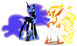 Size: 3687x2194 | Tagged: safe, artist:somashield, daybreaker, nightmare moon, oc, oc:stardust tutor, alicorn, pony, unicorn, alicorn oc, aunt and nephew, colt, digital art, ethereal mane, female, filly, helmet, hoof shoes, horn, male, mane of fire, mother and child, mother and son, offspring, parent:nightmare moon, peytral, simple background, size difference, slit pupils, starry mane, transparent background, trio, wings
