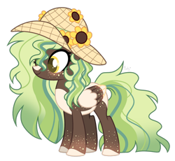 Size: 1280x1179   Tagged: safe, artist:mintoria, oc, oc:sunflower, pegasus, pony, colored wings, female, hat, mare, simple background, solo, transparent background, two toned wings, wings