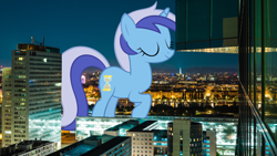 Size: 2400x1350   Tagged: safe, artist:seizureman245, minuette, pony, unicorn, austria, building, eyes closed, female, giant pony, giantess, highrise ponies, irl, macro, mare, photo, ponies in real life, vienna