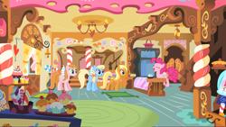 Size: 3840x2162 | Tagged: safe, artist:90sigma, artist:daringdashie, artist:firestorm-can, artist:jerryakiraclassics19, artist:luckreza8, artist:solusjbj, apple cider (character), apple cobbler, pacific rose, pinkie pie, earth pony, pony, apple family member, cupcake, female, food, mare, sugarcube corner