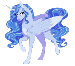 Size: 2340x2068 | Tagged: safe, artist:gigason, oc, oc only, alicorn, pony, alicorn oc, curved horn, female, high res, horn, magical lesbian spawn, mare, offspring, parent:princess luna, parent:trixie, parents:luxie, simple background, solo, tongue out, transparent background, two toned wings, wings