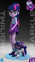 Size: 2304x4096 | Tagged: safe, artist:aryatheeditor, sci-twi, twilight sparkle, pony, unicorn, equestria girls, 3d, action figure, clothes, figure, geode of telekinesis, glasses, hasbro, hasbro logo, human and pony, human ponidox, lab coat, magical geodes, photo, self ponidox, skirt, source filmmaker, toy