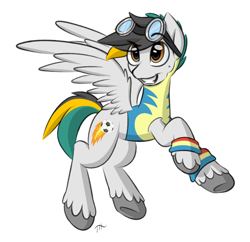 Size: 1500x1450 | Tagged: safe, artist:fakskis, oc, oc only, pegasus, pony, armband, beauty mark, clothes, colored sketch, commission, cutie mark, eyebrows visible through hair, flying, full body, goggles, male, shading, simple background, sketch, smiling, solo, spread wings, stallion, sweatband, teeth, underhoof, uniform, unshorn fetlocks, white background, wings, wonderbolts uniform