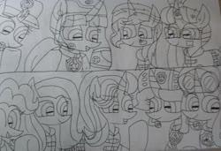 Size: 3111x2129 | Tagged: safe, artist:徐詩珮, fizzlepop berrytwist, fluttershy, glitter drops, moondancer, pinkie pie, spring rain, starlight glimmer, sunset shimmer, tempest shadow, twilight sparkle, alicorn, unicorn, series:sprglitemplight diary, series:sprglitemplight life jacket days, series:springshadowdrops diary, series:springshadowdrops life jacket days, aid marshall (paw patrol), alternate universe, bisexual, broken horn, chase (paw patrol), clothes, cute, female, glitterbetes, glitterlight, glittershadow, horn, lesbian, lifeguard, lifeguard spring rain, lifejacket, marshall (paw patrol), paw patrol, polyamory, shipping, skye (paw patrol), sprglitemplight, springbetes, springdrops, springlight, springshadow, springshadowdrops, spy chase (paw patrol), tempestbetes, tempestlight, twilight sparkle (alicorn), zuma (paw patrol)