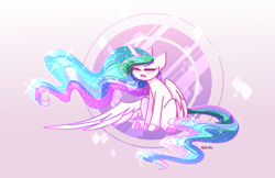 Size: 3400x2200 | Tagged: safe, artist:spirit-fire360, princess celestia, alicorn, pony, colored hooves, eyes closed, female, gradient background, mare, open mouth, solo, tired, yawn