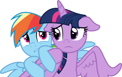 Size: 4750x3000 | Tagged: safe, artist:cloudyglow, rainbow dash, twilight sparkle, alicorn, the beginning of the end, .ai available, floppy ears, scared, simple background, transparent background, twilight sparkle (alicorn), vector