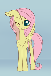 Size: 933x1395 | Tagged: safe, artist:dusthiel, fluttershy, human, pegasus, pony, blushing, chest fluff, cute, floppy ears, hand, human petting pony, one eye closed, shyabetes, solo