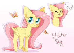 Size: 2774x2003 | Tagged: safe, artist:pledus, fluttershy, butterfly, pegasus, pony, blushing, bust, cute, dialogue, ear fluff, eyes closed, female, flutteryay, high res, leg fluff, mare, open mouth, part of a set, portrait, shyabetes, simple background, solo, speech bubble, white background, yay