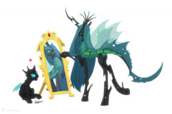 Size: 1509x1000 | Tagged: safe, artist:carnifex, queen chrysalis, changeling, changeling queen, alternate design, commission, female, mirror