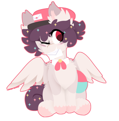 Size: 1358x1378 | Tagged: safe, artist:vanillaswirl6, oc, oc only, oc:dandyletters (rigbythememe), pegasus, pony, bowtie, commission, hat, letter, mail, male, one eye closed, simple background, transparent background, wink