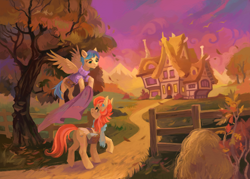 Size: 3626x2598 | Tagged: safe, artist:dearmary, aunt holiday, auntie lofty, earth pony, pegasus, pony, the last crusade, duo, female, fence, high res, house, looking at each other, mare, quilt