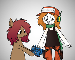 Size: 1880x1522 | Tagged: safe, artist:modocrisma, oc, oc only, oc:sobakasu, earth pony, human, pony, antenna, bag, bags under eyes, belt, body painting, cargo pants, cave story, chest fluff, clothes, cosplay, costume, ear fluff, ear freckles, face paint, fantasy, fluffy, freckles, gradient background, gun, handgun, happy, hat, headphones, holster, hoof hold, looking down, makeup, male, pants, pistol, ponysona, scarf, science fiction, self portrait, shirt, shoulder fluff, shoulder freckles, simple background, smiling, tanktop, teenager, video game, watermark, weapon