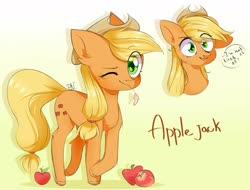 Size: 1280x971 | Tagged: safe, artist:pledus, applejack, earth pony, pony, apple, bust, cute, dialogue, ear fluff, eye clipping through hair, female, food, jackabetes, leg fluff, looking at you, mare, one eye closed, open mouth, part of a set, portrait, smiling, solo, speech bubble, straw in mouth, wink