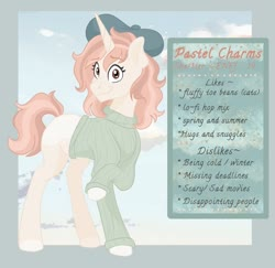 Size: 768x747 | Tagged: safe, artist:pastel-charms, oc, oc:pastel charms, pony, unicorn, beret, clothes, female, hat, mare, solo, sweater
