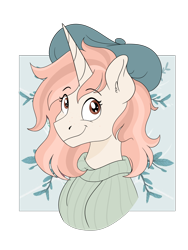 Size: 1536x2048 | Tagged: safe, artist:pastel-charms, oc, oc only, oc:pastel charms, pony, unicorn, beret, bust, clothes, female, hat, mare, portrait, simple background, solo, sweater, transparent background