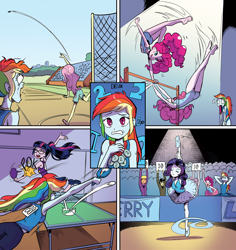 Size: 1834x1941 | Tagged: safe, artist:pencils, idw, cranky doodle donkey, fluttershy, ms. harshwhinny, pinkie pie, rainbow dash, rarity, sci-twi, twilight sparkle, equestria girls, spoiler:comic, spoiler:comicequestriagirlsmarchradness, armpits, ass, ballet, ballet slippers, barefoot, bulging eyes, butt, clothes, discus throw, feet, gymnastics, jaw drop, leotard, medal, ping pong, ping pong table, rainbow dash is best facemaker, second place, shorts, silver medal, skirt, splits, sports shorts