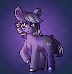 Size: 1700x1737 | Tagged: safe, artist:dozhdoley, artist:sugarstar, limestone pie, earth pony, pony, chest fluff, collaboration, colored hooves, female, mare, purple background, simple background, solo